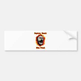 Daytona Beach Bike Week Skull flaming Bumper Sticker