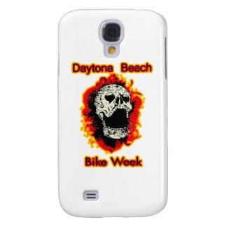 Daytona Beach Bike Week Skull flaming Galaxy S4 Cover