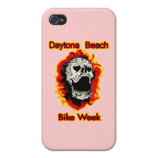 Daytona Beach Bike Week Skull flaming iPhone 4 Cover