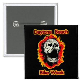 Daytona Beach Bike Week Skull flaming Pinback Button