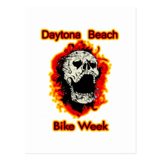 Daytona Beach Bike Week Skull flaming Postcard