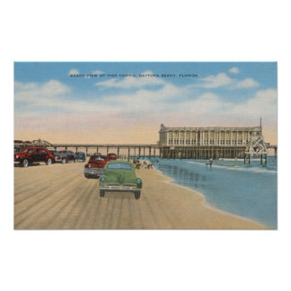 Daytona Beach, FL - Beach View of Pier Casino Print