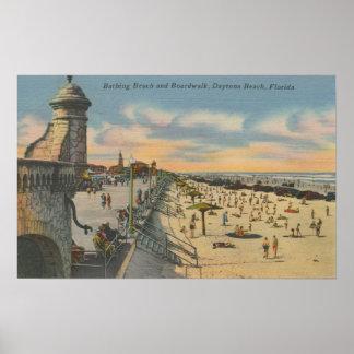 Daytona Beach, FL - Boardwalk View of Beach Poster