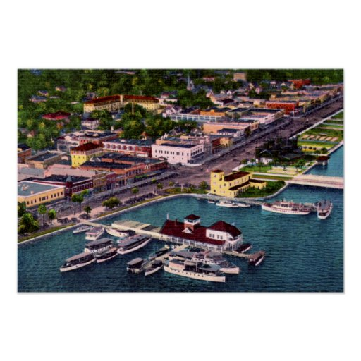 Daytona Beach Florida Aerial View Beach Street Poster