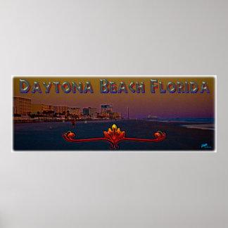 Daytona Beach Florida At Sunrise Panoramic Art Poster