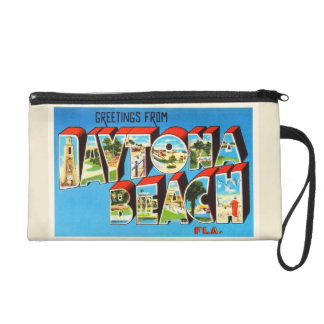 Daytona Beach Florida FL Vintage Travel Souvenir Wristlet