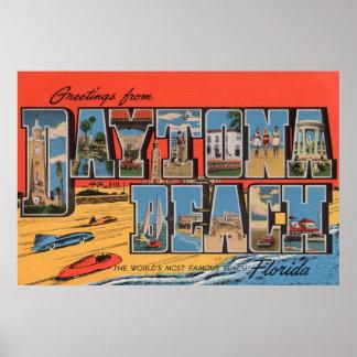 Daytona Beach, Florida - Large Letter Scenes Poster