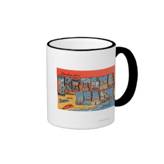 Daytona Beach, Florida - Large Letter Scenes Ringer Mug