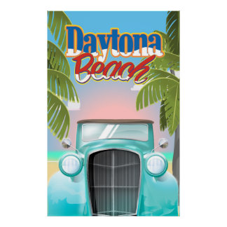 Daytona Beach, Florida USA vintage travel poster