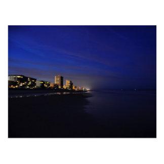 Daytona Beach Shore Hotels Condos Night Postcard