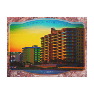 Daytona Beach Shores Coastal Resorts Framed Art Canvas Print