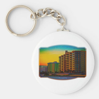 Daytona Beach Shores Coastal Resorts Framed Art Keychain