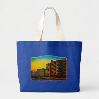 Daytona Beach Shores Coastal Resorts Framed Art Large Tote Bag