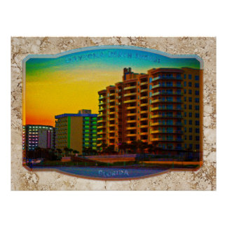 Daytona Beach Shores Coastal Resorts Framed Art Poster