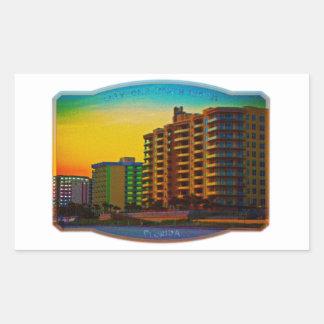 Daytona Beach Shores Coastal Resorts Framed Art Rectangular Sticker