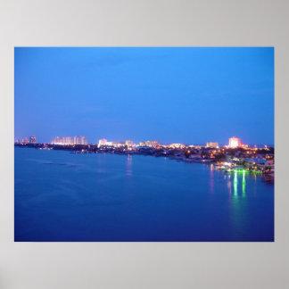 Daytona Beach Shores River Skyline Dusk Poster