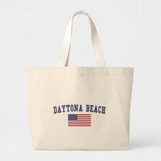 Daytona Beach US Flag Large Tote Bag