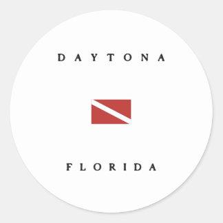 Daytona Florida Scuba Dive Flag Round Stickers