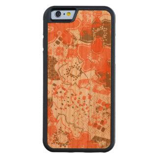 Daytrip Vintage Psychedelic Floral - Wood - Orange Carved® Cherry iPhone 6 Bumper Case