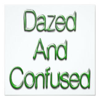 """Dazed & Confused Green 5.25"""" Square Invitation Card"""