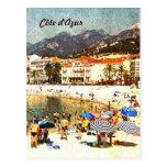 d'Azur de Côte, postal diseñada retra de la playa