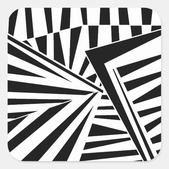 dazzle camouflage (black) square sticker