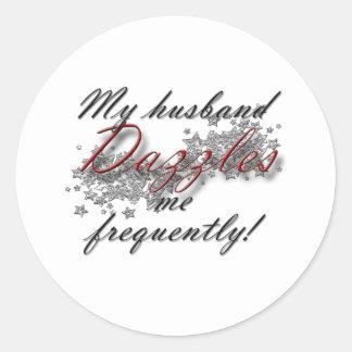 dazzled by husband classic round sticker