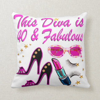 DAZZLING 40TH DIVA THROW PILLOW