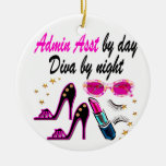 DAZZLING ADMIN ASST DIVA Double-Sided CERAMIC ROUND CHRISTMAS ORNAMENT