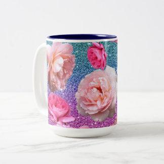 Dazzling Aqua Pink Glitter Floral Two Tone Mug