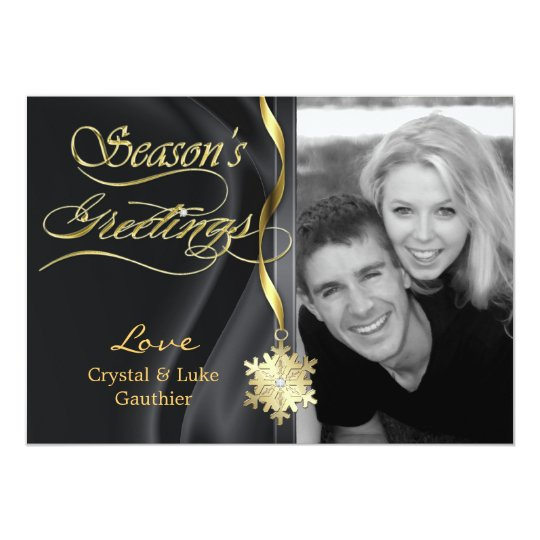 Dazzling Black Sparkle Snowflake Holiday Card