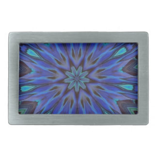 Dazzling Blue Abalone Mother of Pearl Mandala Rectangular Belt Buckle