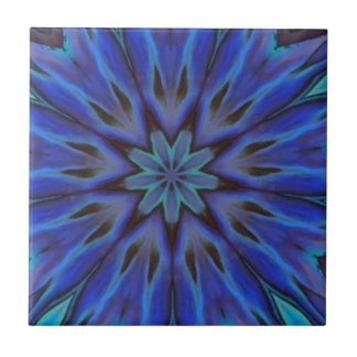 Dazzling Blue Abalone Mother of Pearl Mandala Small Square Tile