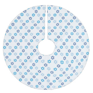 Dazzling Blue and White Jewish Star of David Brushed Polyester Tree Skirt