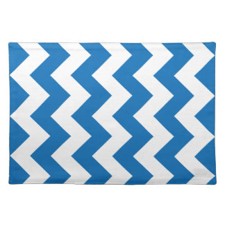 Dazzling Blue Chevron Zigzag Cloth Placemat