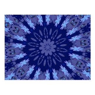 Dazzling Blue Crazy Daisy Kaleidoscope Postcard