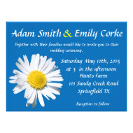 Dazzling Blue Daisy Wedding Invitation