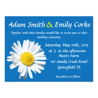 Dazzling Blue Daisy Wedding Invitation