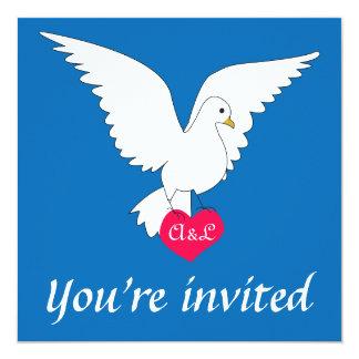 """Dazzling Blue Dove Wedding Invitation 5.25"""" Square Invitation Card"""
