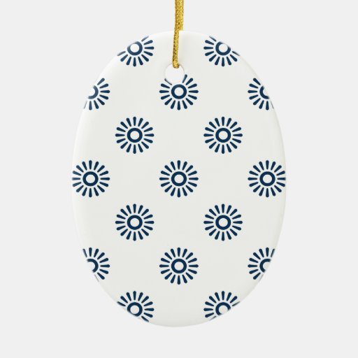 Dazzling Blue Flower 6 Christmas Ornaments