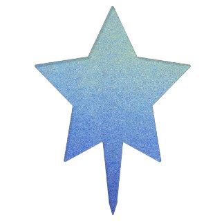 Dazzling Blue Ombre Glitter Sand Look Dark Light Cake Topper