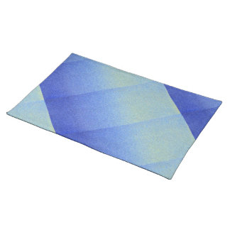 Dazzling Blue Ombre Glitter Sand Look Dark Light Cloth Placemat
