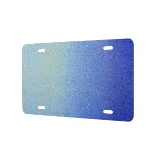 Dazzling Blue Ombre Glitter Sand Look Dark Light License Plate