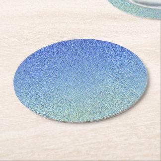Dazzling Blue Ombre Glitter Sand Look Dark Light Round Paper Coaster