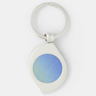 Dazzling Blue Ombre Glitter Sand Look Dark Light Silver-Colored Swirl Metal Keychain