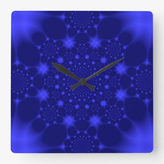 Dazzling Blue Square Wall Clock