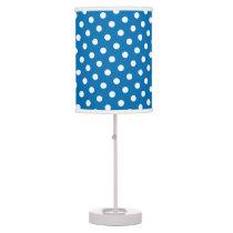 Dazzling Blue & White Polka Dot Pattern Table Lamp