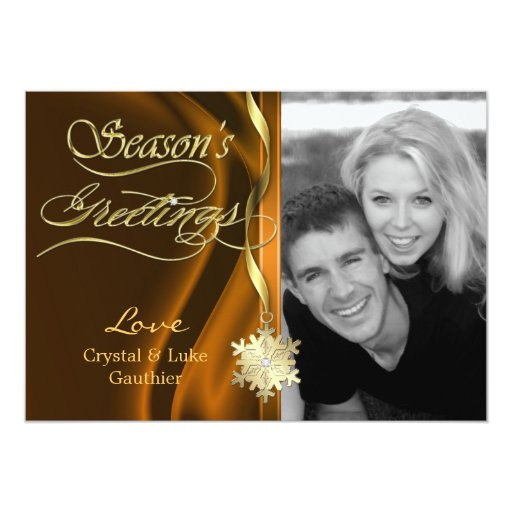 Dazzling Bronze Sparkle Snowflake Holiday Card