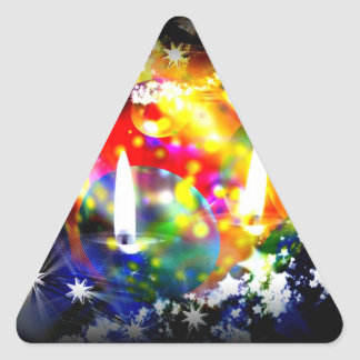 Dazzling Christmas Colors & Candles Triangle Sticker