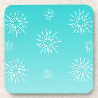 Dazzling Christmas Stars Coaster Set, Aqua